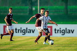 Žan Kumer of Triglav vs Luka Bobičanec of Mura during football match between NK Triglav and NS Mura in 5th Round of Prva liga Telekom Slovenije 2019/20, on August 10, 2019 in Sports park, Kranj, Slovenia. Photo by Vid Ponikvar / Sportida