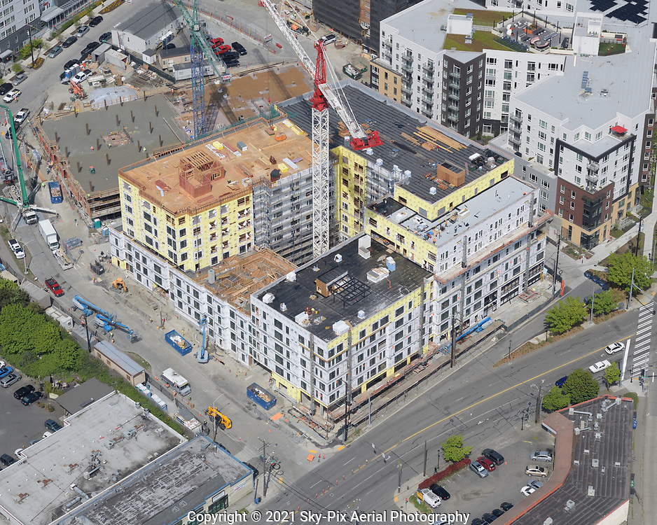Mason And Main, a mid-rise apartment development under construction in Seattle's Yesler Terrace master-planned community.
