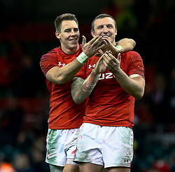 Liam Williams of Wales with team-mate Hadleigh Parkes applaud the fans<br /> <br /> Photographer Simon King/Replay Images<br /> <br /> Under Armour Series - Wales v South Africa - Saturday 24th November 2018 - Principality Stadium - Cardiff<br /> <br /> World Copyright © Replay Images . All rights reserved. info@replayimages.co.uk - http://replayimages.co.uk
