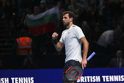 November 18, 2017 - London, England, United Kingdom - Bulgaria's Grigor Dimitrov celebrates his three set victory over US player Jack Sock in their men's singles semi-final match on day seven of the ATP World Tour Finals tennis tournament at the O2 Arena in London on November 18, 2017. (Credit Image: © Alberto Pezzali/NurPhoto via ZUMA Press)