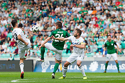 Aleksandr Kulinits of NK Krsko and Leon Benko of NK Olimpija Ljubljana during football match between NK Olimpija Ljubljana and NK Krsko in Round #35 of Prva liga Telekom Slovenije 2017/18, on May 23, 2018 in SRC Stozice, Ljubljana, Slovenia. Photo by Urban Urbanc / Sportida