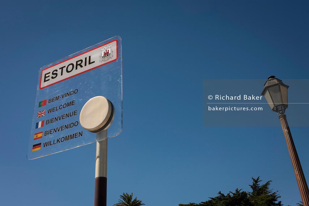 A multilingual Welcome sign at Estoril near Lisbon, Portugal.