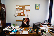 Dijana Bozic-Srdanovic in her office.<br /> <br /> Arcelor Mittal. <br /> <br /> Matt Lutton / Boreal Collective for the Financial Times.