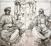 St Peter and St Paul' Sepia ink on paper. Perino del Vaga (1501-1547) Italian painter and decorative artist.  Religion Christian