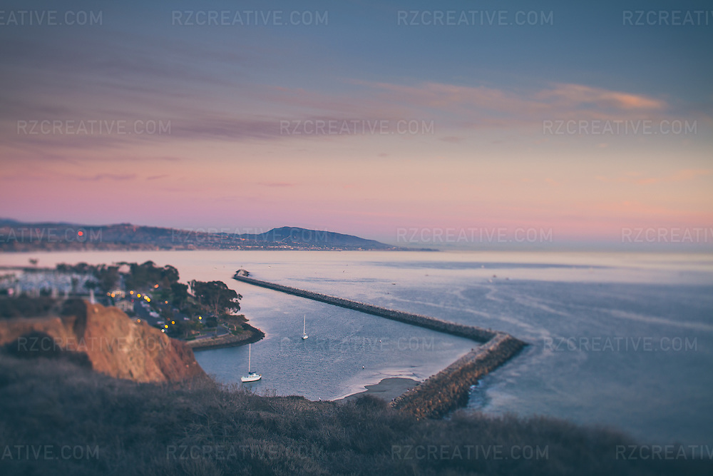 Selective focus (tilt shift) image of above the Dana Point harbor during a fall sunset in Orange County, California.
