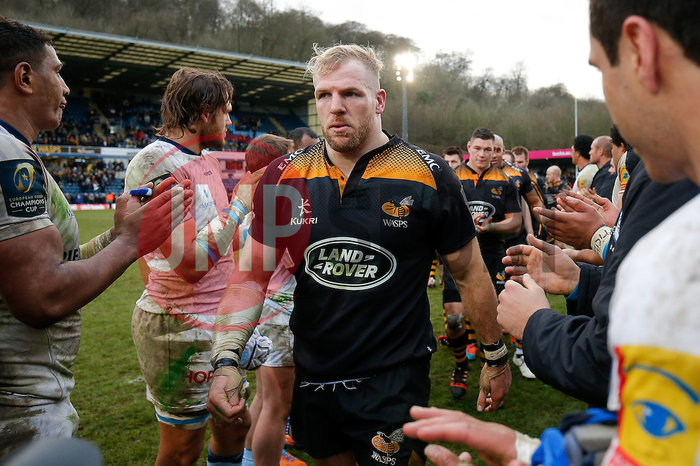 Wasps Flanker James Haskell (capt) leads his side of the Adams Park pitch for the final time flanked by the losing Castres Olympique team. Wasps next home game will be at their new home in Coventry, the Ricoh Arena - Photo mandatory by-line: Rogan Thomson/JMP - 07966 386802 - 14/12/2014 - SPORT - RUGBY UNION - High Wycombe, England - Adams Park Stadium - Wasps v Castres Olympique - European Rugby Champions Cup Pool 2.