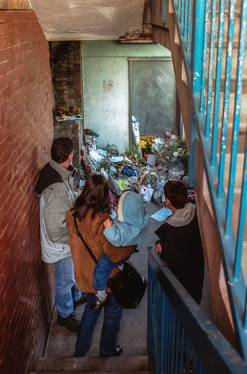 A memorial at the spot where schoolboy Damilola Taylor died. The stairwell by the lift in the housing estate where he lived in Peckham South London. The young boy was murdered on his way home from school 27th November 2000.