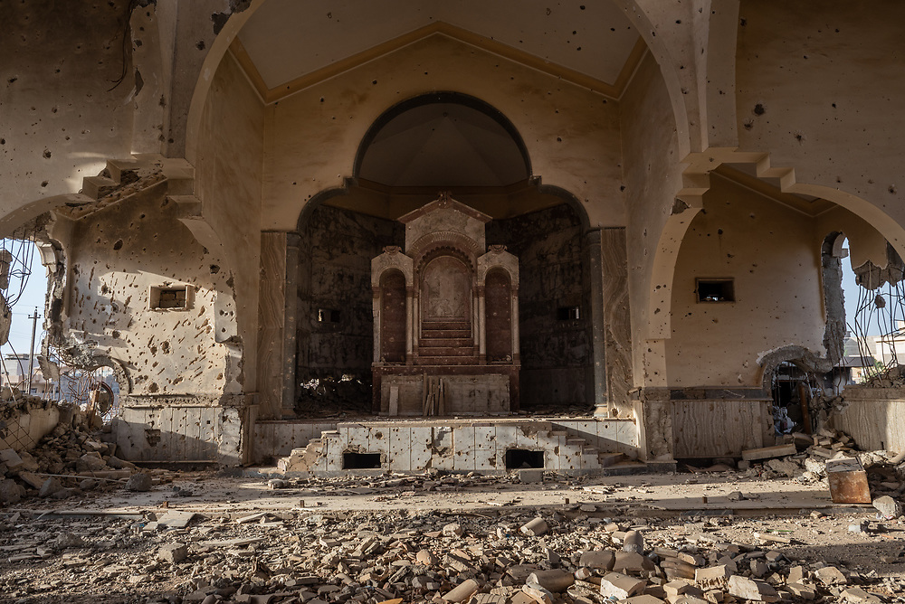 An Armenian church in the Iraqi city of Mosul, heavily damaged during the ISIS occupation of the city. (May 23, 2017)
