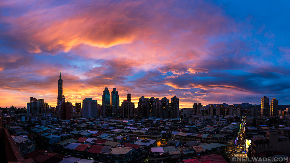 A colorful sky and sunset over Taipei City, Taiwan.