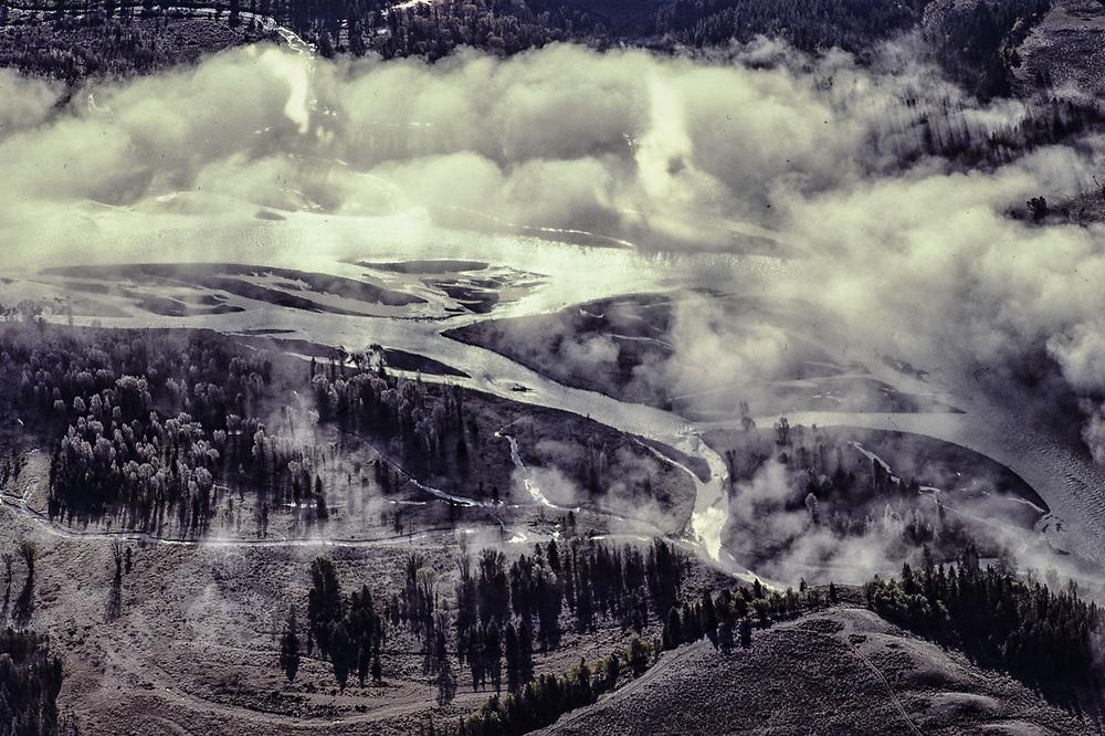 Aerial view of the Snake River, mornng ground fog, Grand Teton National Park, Wyoming, USA