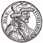 Johannes Stoeffler or Stofler (1452-1531) German mathematician, astronomer, astrologer, instrument maker and teacher. Professor of mathematics and astronomy at Tubingen from 1507. Died of plague.  Portrait from his 'Calendarum Romanum Magnum' (Oppenheim,  1518)