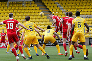 Aberdeen's Callum Hendry (9) heads at goal during the Scottish Premiership match between Livingston and Aberdeen at Tony Macaroni Arena, Livingstone, Scotland on 1 May 2021.
