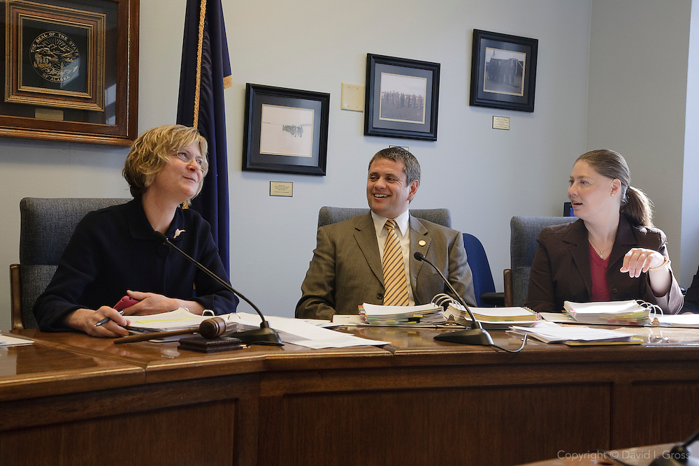 The Alaska House Democrats caucus inside the capital to discuss legislation and strategy during the final days of the legislative session. Left to right: House Minority Leader Beth Kerttula, Representative Chris Tuck, Representative Lindsey Holmes.