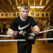 Boxer Charlie Flynn in the Phoenix Gym in the east end of Glasgow. Picture Robert Perry  15th Feb 2016<br /> Must credit photo to Robert Perry<br /> <br /> FEE PAYABLE FOR REPRO USE<br /> FEE PAYABLE FOR ALL INTERNET USE<br /> www.robertperry.co.uk<br /> NB -This image is not to be distributed without the prior consent of the copyright holder.<br /> in using this image you agree to abide by terms and conditions as stated in this caption.<br /> All monies payable to Robert Perry<br /> <br /> (PLEASE DO NOT REMOVE THIS CAPTION)<br /> This image is intended for Editorial use (e.g. news). Any commercial or promotional use requires additional clearance. <br /> Copyright 2016 All rights protected.<br /> first use only<br /> contact details<br /> Robert Perry     <br /> 07702 631 477<br /> robertperryphotos@gmail.com<br />         <br /> Robert Perry reserves the right to pursue unauthorised use of this image . If you violate my intellectual property you may be liable for  damages, loss of income, and profits you derive from the use of this image.