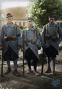 """Colorized photographs soldiers from the World War One<br /> <br /> With his impressive colorized photographs of the World War One, Frédéric Duriez gives us a new look at the conflict that ravaged the world between 1914 and 1918, revealing the difficult daily life of the French soldiers. <br /> <br /> Photo Shows: """"Saint Folquin (France - Nord). September 3, 1917, at the corner of village.In the foreground, left to right: Fusilier Limbi , the """"""""second-maitre""""""""second-maitreand the """"""""Fusilier-Marin"""""""" St. Jamme who distinguished themselves in combat Die - Graetchen .<br /> ©Frédéric Duriez/Exclusivepix Media"""