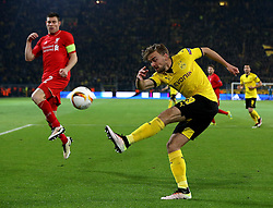 Marcel Schmelzer of Borussia Dortmund clears the ball - Mandatory by-line: Robbie Stephenson/JMP - 07/04/2016 - FOOTBALL - Signal Iduna Park - Dortmund,  - Borussia Dortmund v Liverpool - UEFA Europa League Quarter Finals First Leg