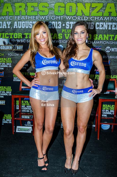 CARSON, California/USA (Thursday, Aug 22 2013) - Corona ring girls attend the last Mares vs Gonzalez press conference at The SubHub Center in Carson, CA.  PHOTO © Eduardo E. Silva/SILVEXPHOTO.COM.