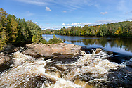 Half of the Chute Aux Bleuets (Blueberry Falls) on the Rivière-Rouge (Red River) in the Village of Brébeuf, Québec, Canada.