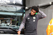 Willian of Chelsea arrives off the team bus ahead of the game. Premier league match, Swansea city v Chelsea at the Liberty Stadium in Swansea, South Wales on Sunday 11th Sept 2016.<br /> pic by  Andrew Orchard, Andrew Orchard sports photography.