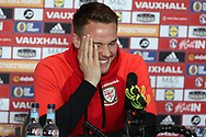 Chris Gunter of Wales speaks to the media at the Wales football player media session at the Vale Resort Hotel in Hensol , South Wales on Wednesday 22nd March 2017. the team are preparing for their FIFA World Cup qualifier away to Republic of Ireland on Friday. pic by Andrew Orchard, Andrew Orchard sports photography