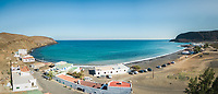 Aerial panoramic view of Pozo Negro village in Fuerteventura, Canary Islands, Spain.