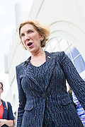 Former CEO and GOP presidential hopeful Carly Fiorina greets supporters following the National Security Forum with the Americans for Peace, Prosperity and Security at the Citadel Military College September 22, 2015 in Charleston, South Carolina.