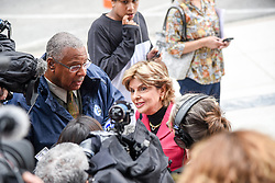 June 6, 2017 - Norristown, Pennsylvania, U.S - GLORIA ALLRED  is surrounded by media as she gives an impromptu presser during the lunch break at the  Bill Cosby sexual assault trial in Montgomery County PA (Credit Image: © Ricky Fitchett via ZUMA Wire)
