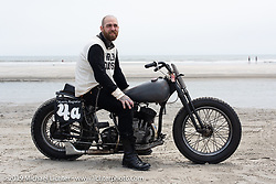 "Magneto Mike Cohen (of Morris Magneto where he mostly rebuilds old mags) with his 1942 Harley-Davidson WLA 45"" Flathead racer at TROG (The Race Of Gentlemen). Wildwood, NJ. USA. Sunday June 10, 2018. Photography ©2018 Michael Lichter."