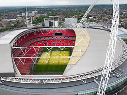An aerial view of Wembley Stadium, London. PRESS ASSOCIATION Photo. Issue date: Tuesday May 23, 2017. Photo credit should read: Steve Parsons/PA Wire