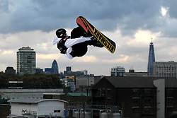 © Licensed to London News Pictures. 29/10/2011, London, UK.  Finland's Janne Korpi jumps during the final of FIS Snowboard World Cup Bir Air competition at the Freeze Snowboard and Ski Festival at Battersea Power Station in London, Saturday, Oct. 29, 2011. Photo credit : Sang Tan/LNP