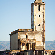 A landmark in the area, the Las Salinas Church is located in the town of Cabo de Gata near the Cabo de Gata-Níjar Natural Park in Almeria, Andalucia, Spain.