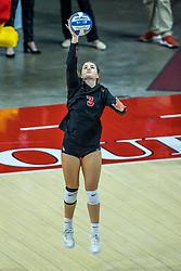 BLOOMINGTON, IL - October 23: Kaity Weimerskrch serves during a college Women's volleyball match between the ISU Redbirds and the Drake Buldogs on October 23 2021 at Illinois State University in Normal, IL. (Photo by Alan Look)