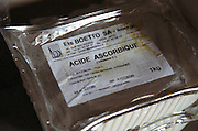 Acide Ascorbique, Vitamin C, Ascorbic acid, C6H8O6. Frequently used in winemaking e.g. as anti-oxidant. Domaine du Grand Chemin, Vin de Pays d'Oc. in Savignargues. Languedoc. France. Europe.