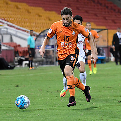 BRISBANE, AUSTRALIA - FEBRUARY 21: Arana of the Roar dribbles the ball during the Asian Champions League Group Stage match between the Brisbane Roar and Muangthong United FC at Suncorp Stadium on February 21, 2017 in Brisbane, Australia. (Photo by Patrick Kearney/Brisbane Roar)