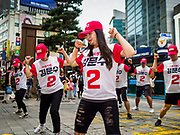 10 JUNE 2018 - SEOUL, SOUTH KOREA: A campaign for a local election in the Myeong-dong neighborhood of Seoul.    PHOTO BY JACK KURTZ