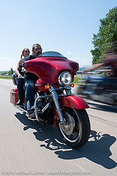 Cycle Source Magazine editors / publishers Heather and Chris Callen on the Cycle Source Ride during the 78th annual Sturgis Motorcycle Rally. Sturgis, SD. USA. Wednesday August 8, 2018. Photography ©2018 Michael Lichter.
