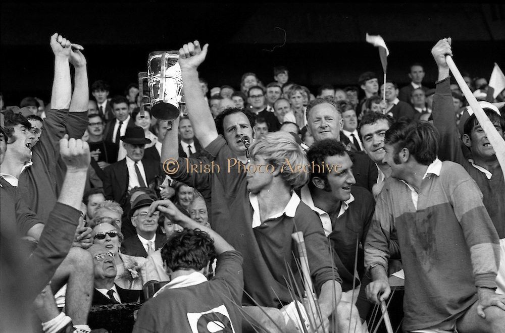 06/09/1970<br /> 09/06/1970<br /> 6 September 1970<br /> All-Ireland Senior Hurling Final: Cork v Wexford at Croke Park, Dublin. <br /> <br /> Cork Captain, Paddy Barry, with the cup as his team celebrates around him.