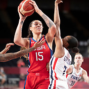 TOKYO, JAPAN August 2:  Brittney Griner #15 of the United States prepares to shoot while defended by Sandrine Gruda #7 of France during the France V USA Preliminary Round Group B Basketball Women match at the Saitama Super Arena during the Tokyo 2020 Summer Olympic Games on August 2, 2021 in Tokyo, Japan. (Photo by Tim Clayton/Corbis via Getty Images)
