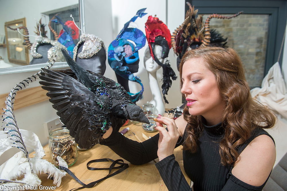 Mar0073603.DT news. Milliner Natalie Ellner pictured in her studio putting the finishing touches to the 11 headpieces that she is supplying to the Animal Ball 2016 to be worn by all corners of British society,Natalie and 40 leading fashion houses dress each set of guests with spectacular animal masks and headgear at the Animal Ball 2016 on November 22nd, the world's greatest fashion houses will collaborate to dress a bestiary of beautiful creatures from all corners of British society to celebrate and protect nature's greatest masterpieces.
