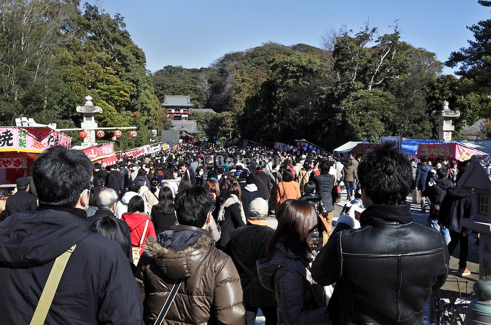 crowd at the Hachimangu shrine Kamakura Japan
