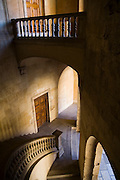 Looking down the stone staircase at the Palace of Carlos V in La Alhambra, Granada, Andalusia, Spain.