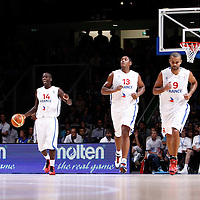 27 August 2011: Steed Tchicamboud, Boris Diaw, Tony Parker are seen during the friendly game won 74-44 by France over Belgium, in Lievin, France.