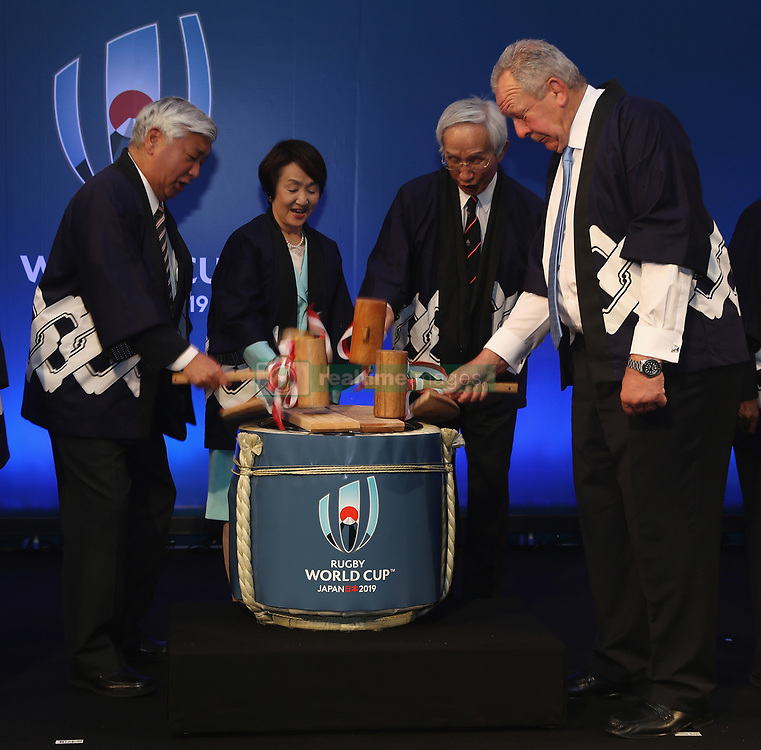 Bill Beaumont, ( R) chairman of World Rugby poses with JR2019 dignitaries during the traditional opening of the sake barrel during the pre Rugby World Cup Japan 2019 reception held at the Hyatt Regency hotel on the eve of the Rugby World Cup Japan 2019 Pool Draw, on May 9, 2017 in Kyoto, Japan. The Rugby World Cup Japan 2019 takes place on May 10, in Kyoto, Japan. Photo by Dave Rogers - World Rugby/PARSPIX/ABACAPRESS.COM