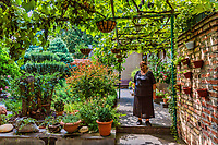 Tbilisi , Georgia - August 25, 2019 :  one old woman posing in the backyard garden of his house in the old town