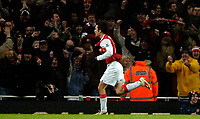 Photo: Ed Godden/Sportsbeat Images.<br /> Arsenal v Wigan Athletic. The Barclays Premiership. 11/02/2007. Arsenal's Tomas Rosicky celebrates scoring the winning goal.