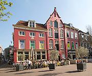 Cafe in historic buildings in central Utrecht, Netherlands