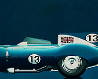 Like its predecessor Jaguar C-Type, the Jaguar D-Type is a factory-built racing car. The Jaguar D-Type had a straight-XK engine design. At the beginning it was a 3.4 engine, later also a 3.8, together with the C-Type a revolutionary car in terms of aerodynamics and monocoque chassis. The D-Type was produced purely for motorsport, but after Jaguar stopped building the car for motorsport, the company offered the unfinished chassis as the public-road version of the JaguarXKSS. These cars were given a number of modifications such as a passenger seat, a second door, a full windscreen and a roof. But on 12 February 1957 a fire broke out on Browns Lane plant. The fire destroyed nine of 25 cars that were already finished or almost finished. –<br /> <br /> <br /> BUY THIS PRINT AT<br /> <br /> FINE ART AMERICA<br /> ENGLISH<br /> https://janke.pixels.com/featured/1-jaguar-type-d-1956-jan-keteleer.html<br /> <br /> WADM / OH MY PRINTS<br /> DUTCH / FRENCH / GERMAN<br /> https://www.werkaandemuur.nl/nl/shopwerk/Jaguar-Type-D-1956/545133/134
