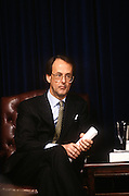 Chief of Staff Erskine Bowles listens as US President Bill Clinton releases the Fiscal Year 1998 Federal Budget February 6, 1997 in Washington, DC. Clinton unveiled his 1.69 trillion USD budget which he says will balance the budget by the year 2002.