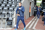 Tottenham player Harry Kane arrives off the team bus ahead of the game. Barclays premier league match, Swansea city v Tottenham Hotspur  at the Liberty Stadium  in Swansea, South Wales on Sunday 4th October 2015.<br /> pic by  Andrew Orchard, Andrew Orchard sports photography.