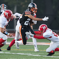 (Photograph by Bill Gerth/ for SVCN/9/8/17) Los Gatos #24 Tyler Davis find a hole for a big gain vs San Benito in a preseason football game at Los Gatos High School, Los Gatos CA on 9/8/17. (San Benito 21 Los Gatos 20)